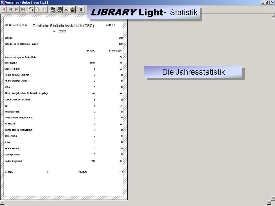 LIBRARY Light - Statistik Die Jahresstatistik