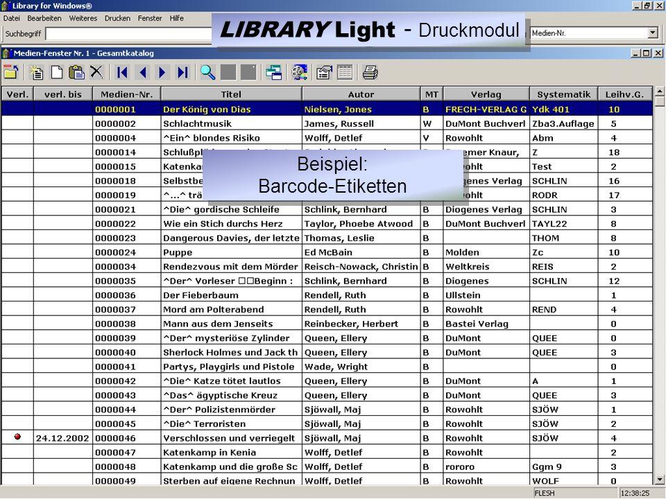 LIBRARY Light - Druckmodu l Beispiel: Barcode-Etiketten