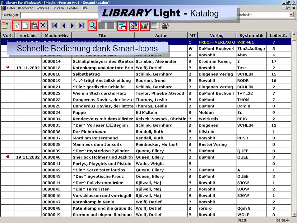 LIBRARY Light Druckmodul zurück F1 für Hilfe