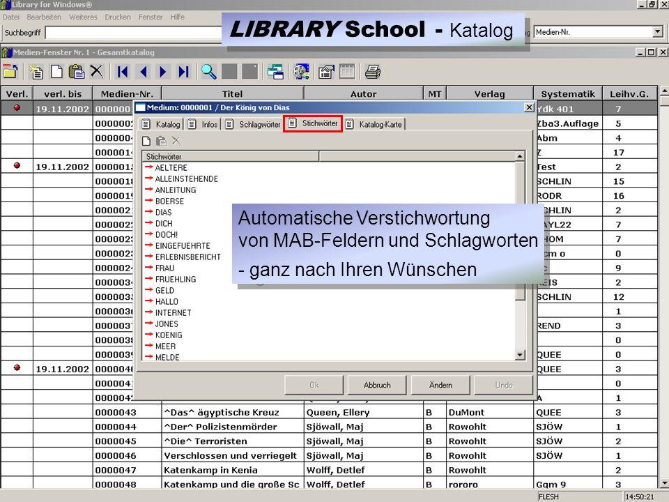 Automatische Verstichwortung von MAB-Feldern und Schlagworten - ganz nach Ihren Wünschen Automatische Verstichwortung von MAB-Feldern und Schlagworten - ganz nach Ihren Wünschen LIBRARY School - Katalog