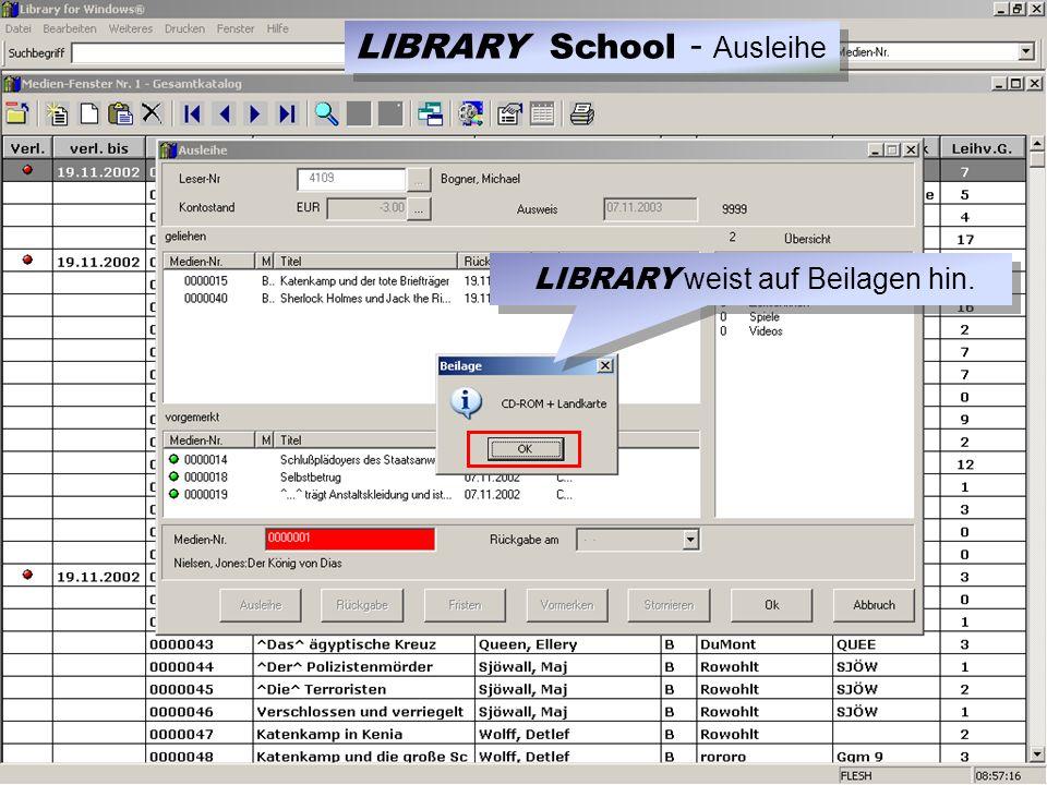 LIBRARY weist auf Beilagen hin. LIBRARY School - Ausleihe