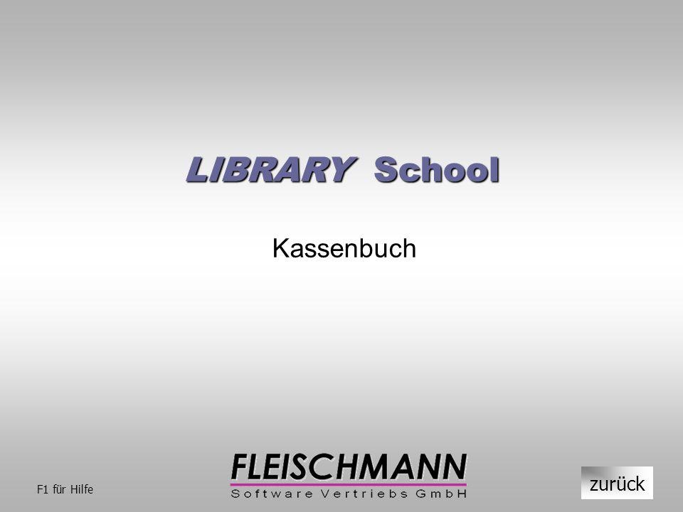 LIBRARY School Kassenbuch zurück F1 für Hilfe