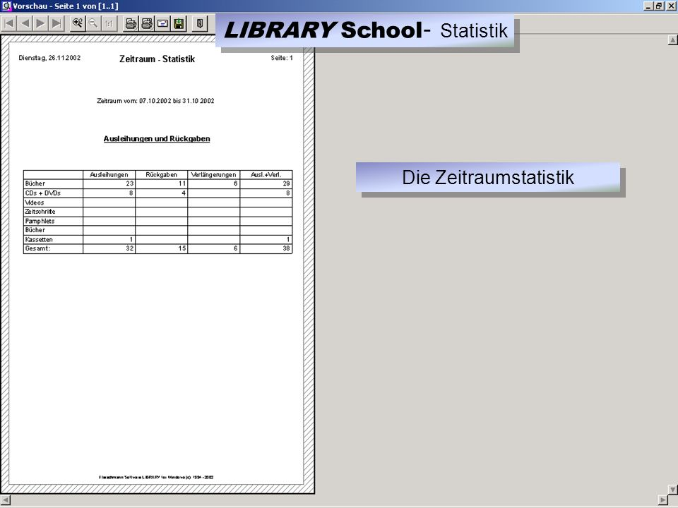 LIBRARY School - Statistik Die Zeitraumstatistik