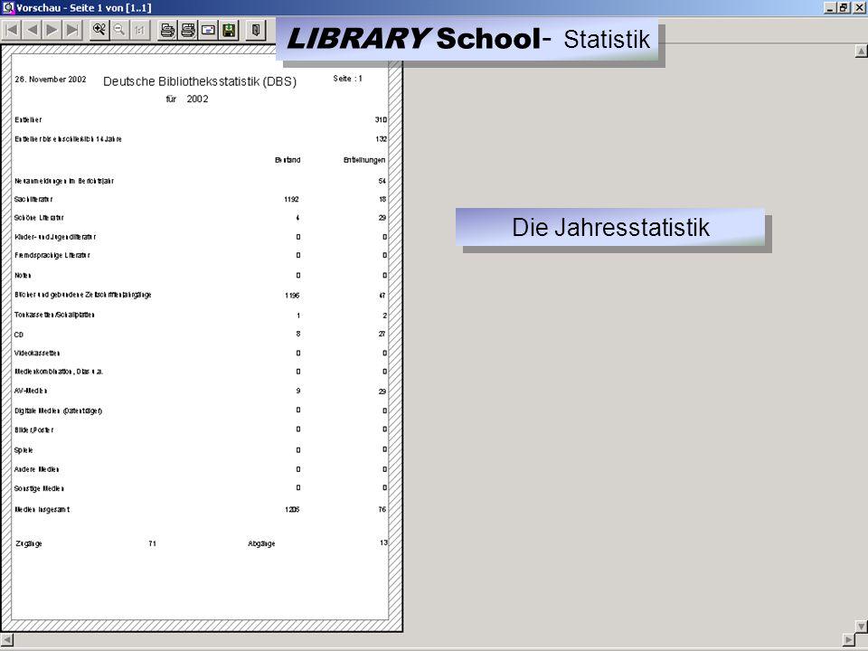 LIBRARY School - Statistik Die Jahresstatistik
