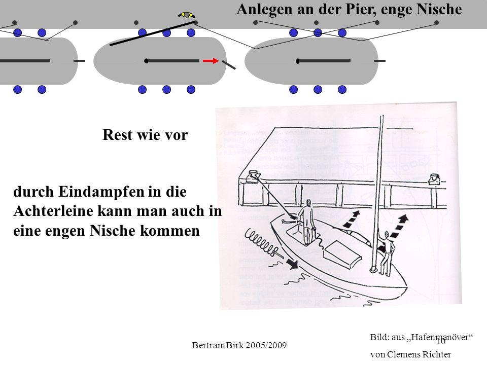 """Bertram Birk 2005/2009 10 Rest wie vor durch Eindampfen in die Achterleine kann man auch in eine engen Nische kommen Bild: aus """"Hafenmanöver von Clemens Richter Anlegen an der Pier, enge Nische"""