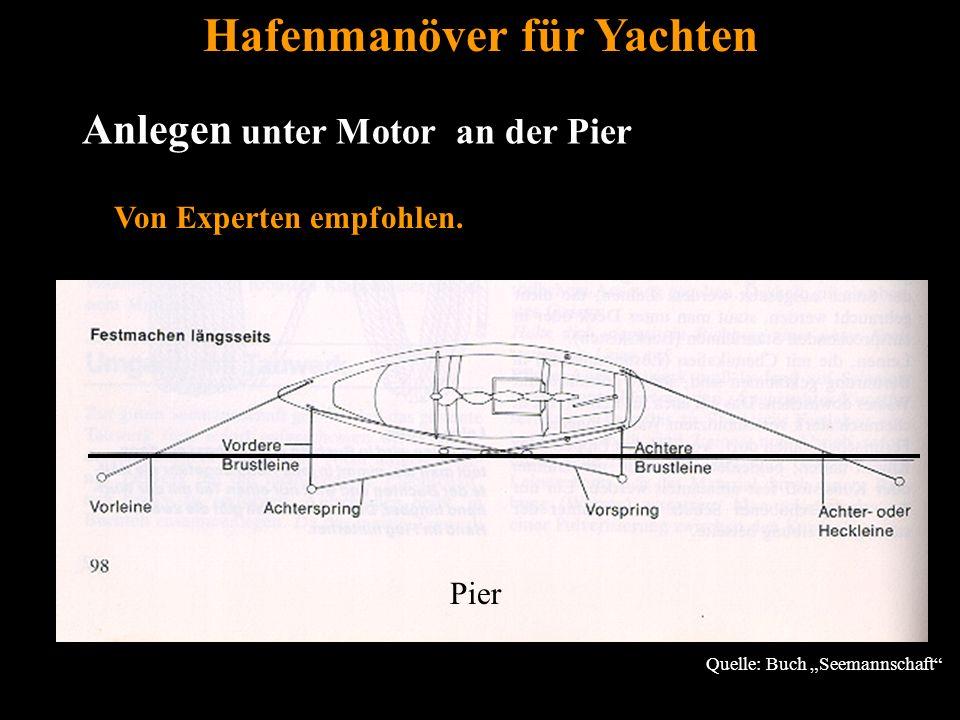 """Bertram Birk 2005/2009 13 Anlegen unter Motor an der Pier Hafenmanöver für Yachten Quelle: Buch """"Seemannschaft Von Experten empfohlen."""