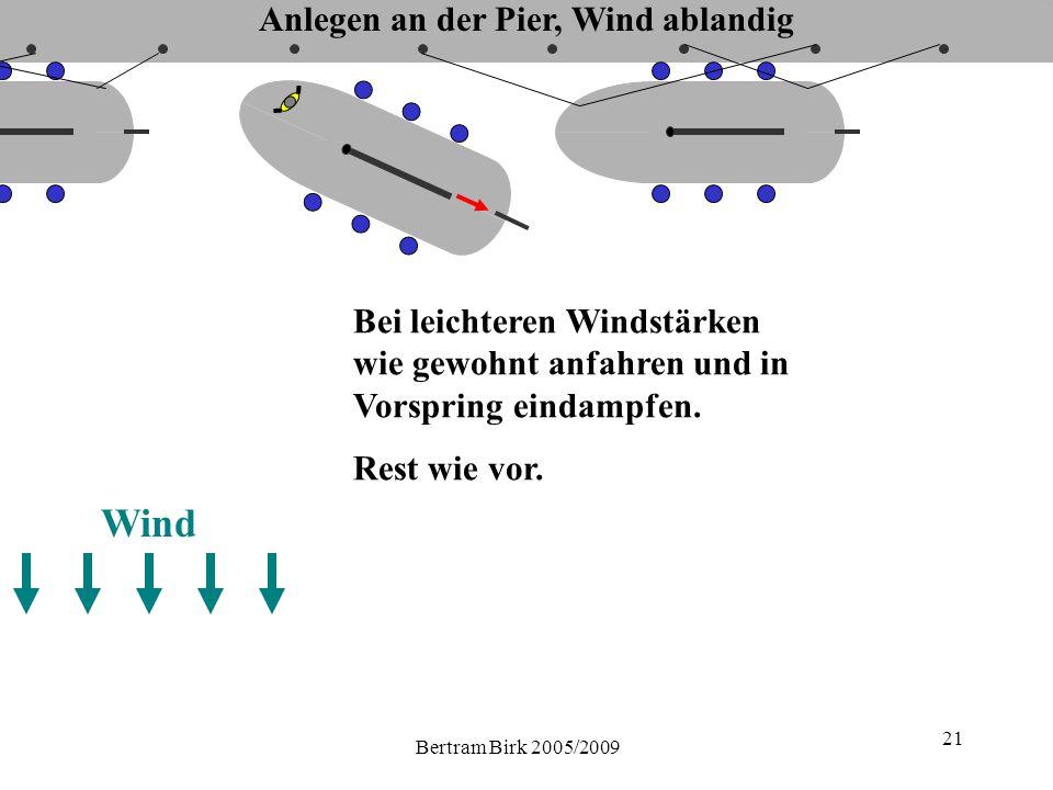 Bertram Birk 2005/2009 21 Wind Bei leichteren Windstärken wie gewohnt anfahren und in Vorspring eindampfen.