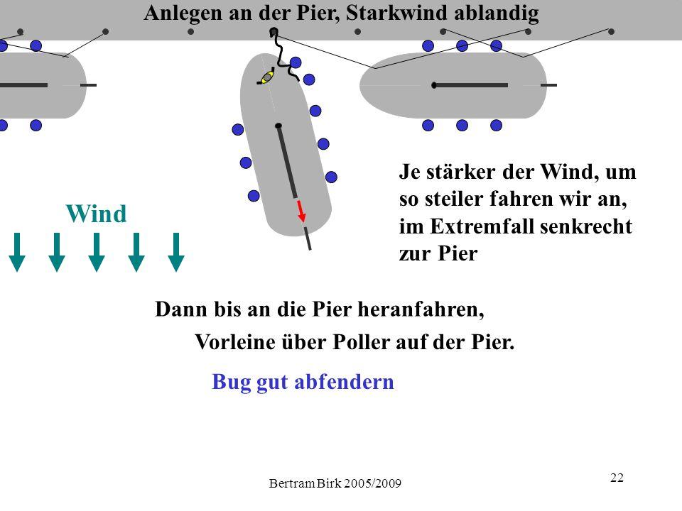 Bertram Birk 2005/2009 22 Wind Je stärker der Wind, um so steiler fahren wir an, im Extremfall senkrecht zur Pier Dann bis an die Pier heranfahren, Vorleine über Poller auf der Pier.