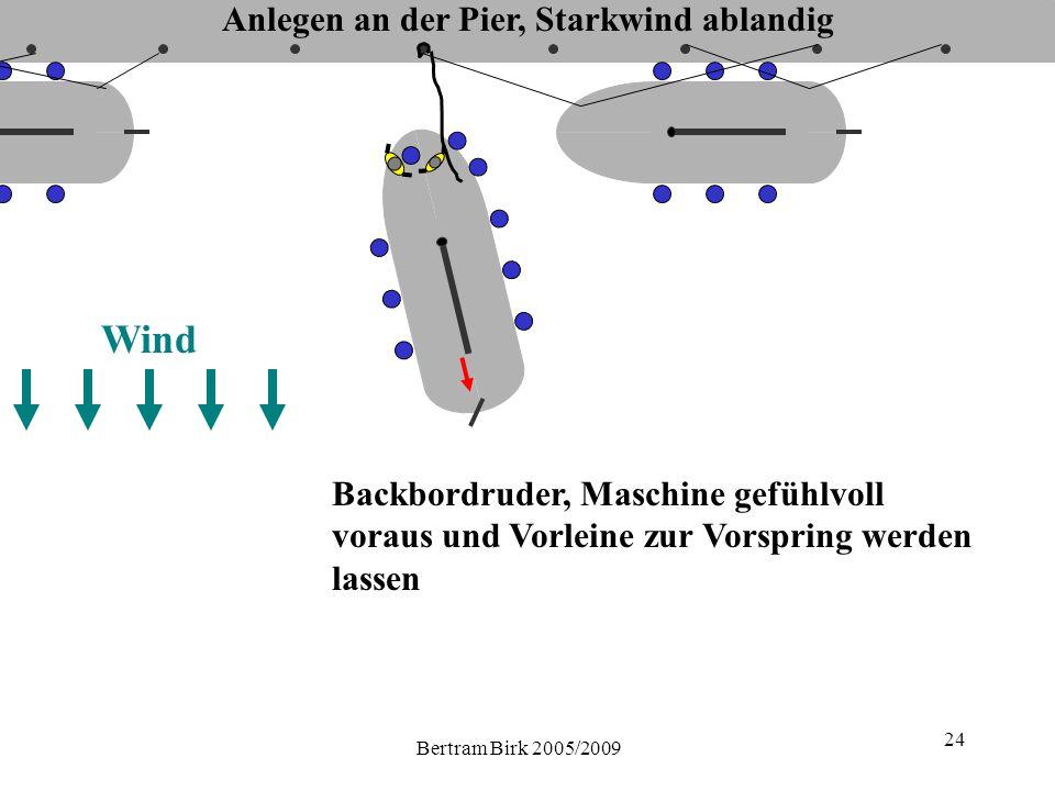 Bertram Birk 2005/2009 24 Backbordruder, Maschine gefühlvoll voraus und Vorleine zur Vorspring werden lassen Wind Anlegen an der Pier, Starkwind ablandig