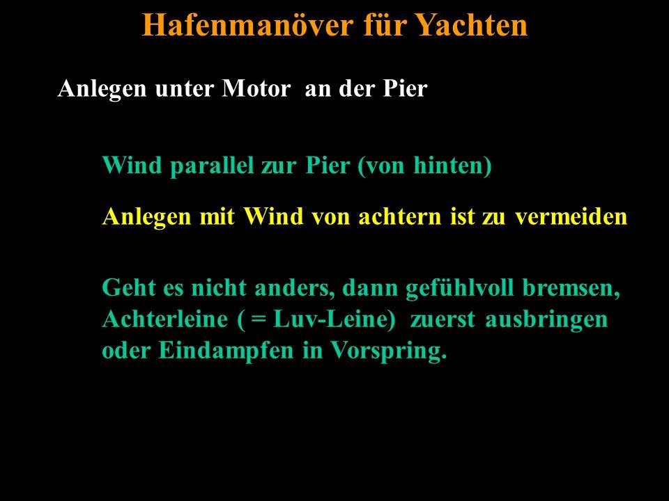 Bertram Birk 2005/2009 29 Anlegen unter Motor an der Pier Hafenmanöver für Yachten Wind parallel zur Pier (von hinten) Anlegen mit Wind von achtern ist zu vermeiden Geht es nicht anders, dann gefühlvoll bremsen, Achterleine ( = Luv-Leine) zuerst ausbringen oder Eindampfen in Vorspring.