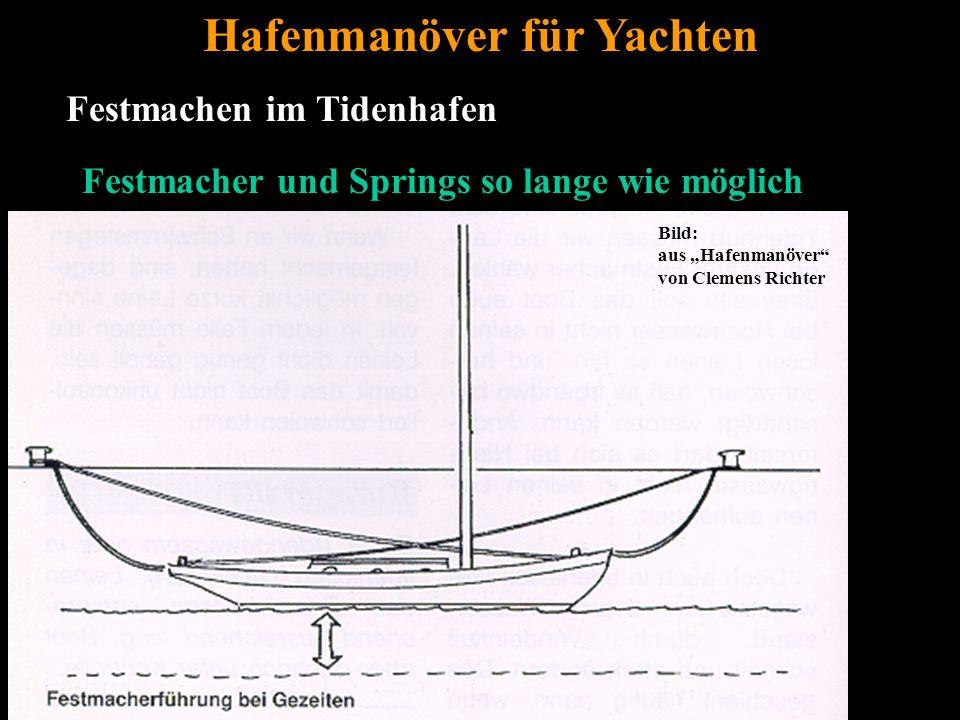 """Bertram Birk 2005/2009 31 Festmachen im Tidenhafen Hafenmanöver für Yachten Festmacher und Springs so lange wie möglich Bild: aus """"Hafenmanöver von Clemens Richter"""
