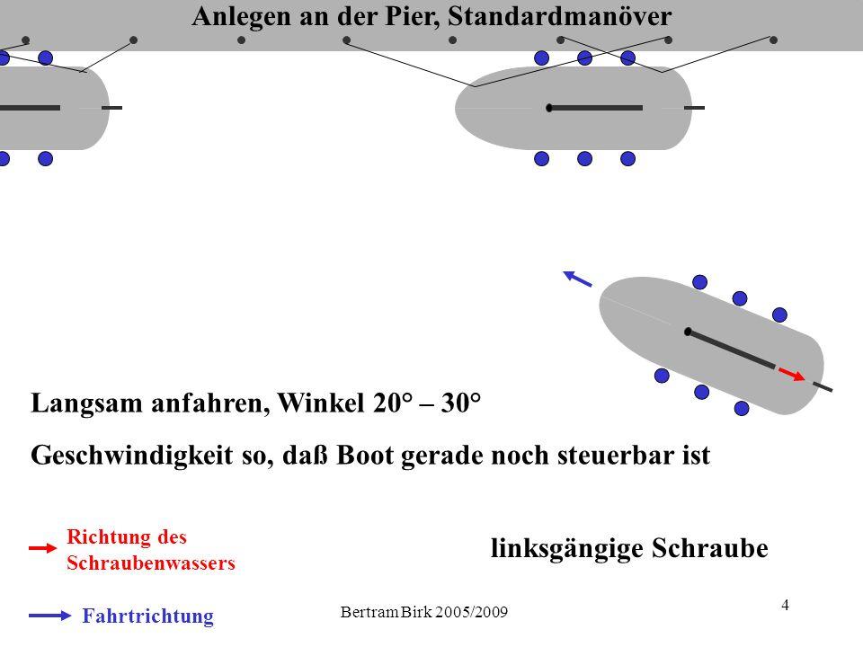 Bertram Birk 2005/2009 4 Fahrtrichtung Richtung des Schraubenwassers Langsam anfahren, Winkel 20° – 30° Geschwindigkeit so, daß Boot gerade noch steuerbar ist linksgängige Schraube Anlegen an der Pier, Standardmanöver