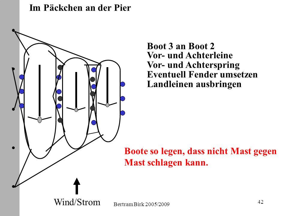 Bertram Birk 2005/2009 42 Im Päckchen an der Pier Eventuell Fender umsetzen Landleinen ausbringen Boot 3 an Boot 2 Vor- und Achterleine Vor- und Achterspring Wind/Strom Boote so legen, dass nicht Mast gegen Mast schlagen kann.