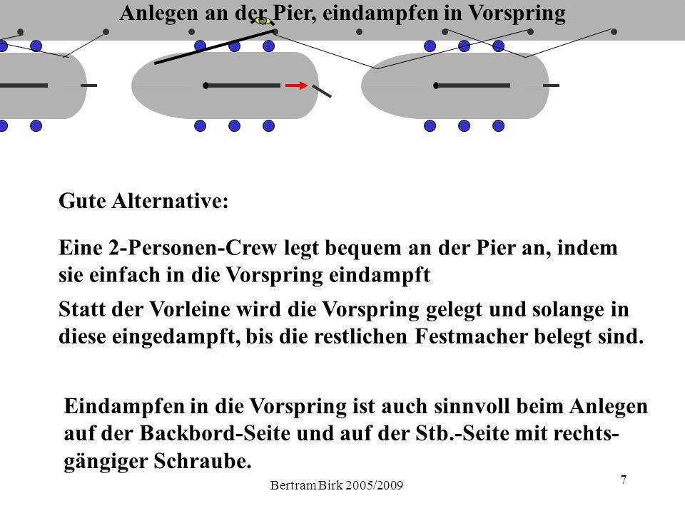 Bertram Birk 2005/2009 8 Gleiche Methode auch bei weniger Platz zwischen den Nachbarbooten.