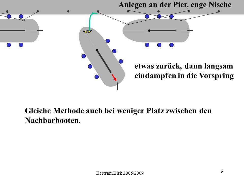 Bertram Birk 2005/2009 9 Gleiche Methode auch bei weniger Platz zwischen den Nachbarbooten.