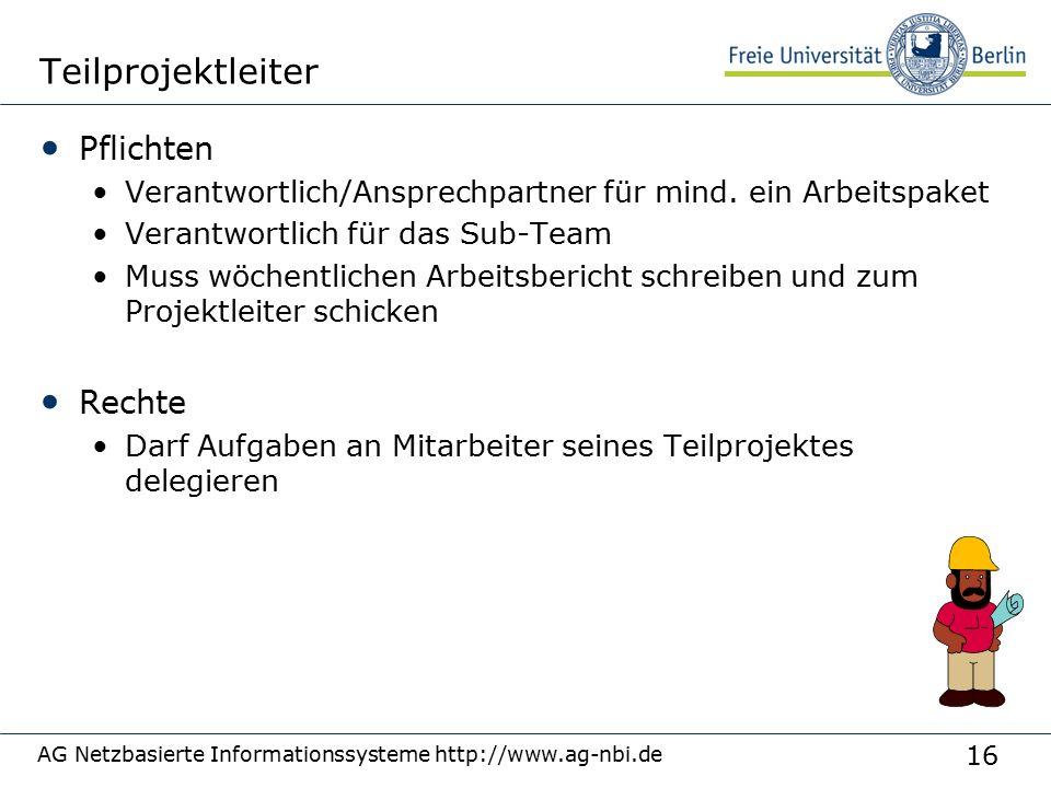 16 AG Netzbasierte Informationssysteme http://www.ag-nbi.de Teilprojektleiter Pflichten Verantwortlich/Ansprechpartner für mind.