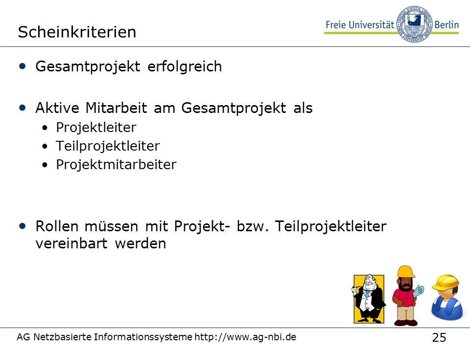 25 AG Netzbasierte Informationssysteme http://www.ag-nbi.de Scheinkriterien Gesamtprojekt erfolgreich Aktive Mitarbeit am Gesamtprojekt als Projektleiter Teilprojektleiter Projektmitarbeiter Rollen müssen mit Projekt- bzw.