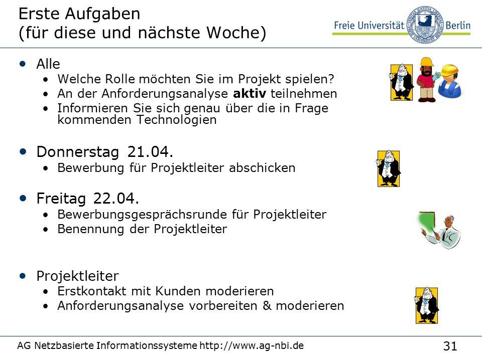 31 AG Netzbasierte Informationssysteme http://www.ag-nbi.de Erste Aufgaben (für diese und nächste Woche) Alle Welche Rolle möchten Sie im Projekt spielen.