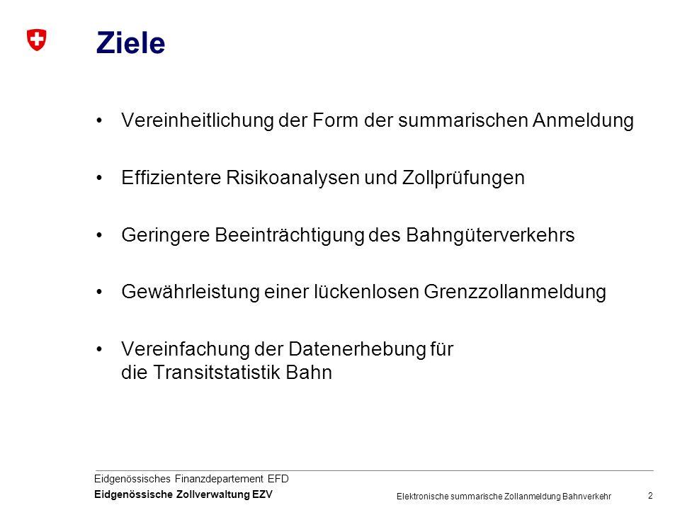 2 Eidgenössisches Finanzdepartement EFD Eidgenössische Zollverwaltung EZV Elektronische summarische Zollanmeldung Bahnverkehr Ziele Vereinheitlichung der Form der summarischen Anmeldung Effizientere Risikoanalysen und Zollprüfungen Geringere Beeinträchtigung des Bahngüterverkehrs Gewährleistung einer lückenlosen Grenzzollanmeldung Vereinfachung der Datenerhebung für die Transitstatistik Bahn