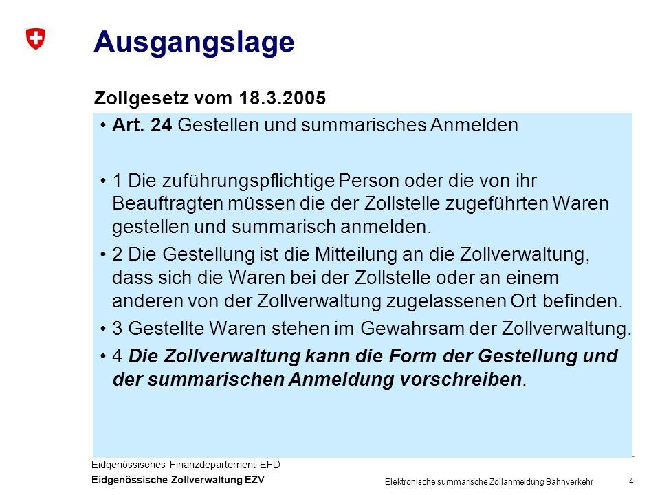 4 Eidgenössisches Finanzdepartement EFD Eidgenössische Zollverwaltung EZV Elektronische summarische Zollanmeldung Bahnverkehr Ausgangslage Art.