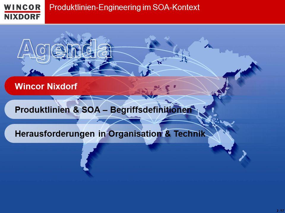 Wincor Nixdorf 2 Produktlinien-Engineering im SOA-Kontext Produktlinien & SOA – Begriffsdefinitionen Herausforderungen in Organisation & Technik /17