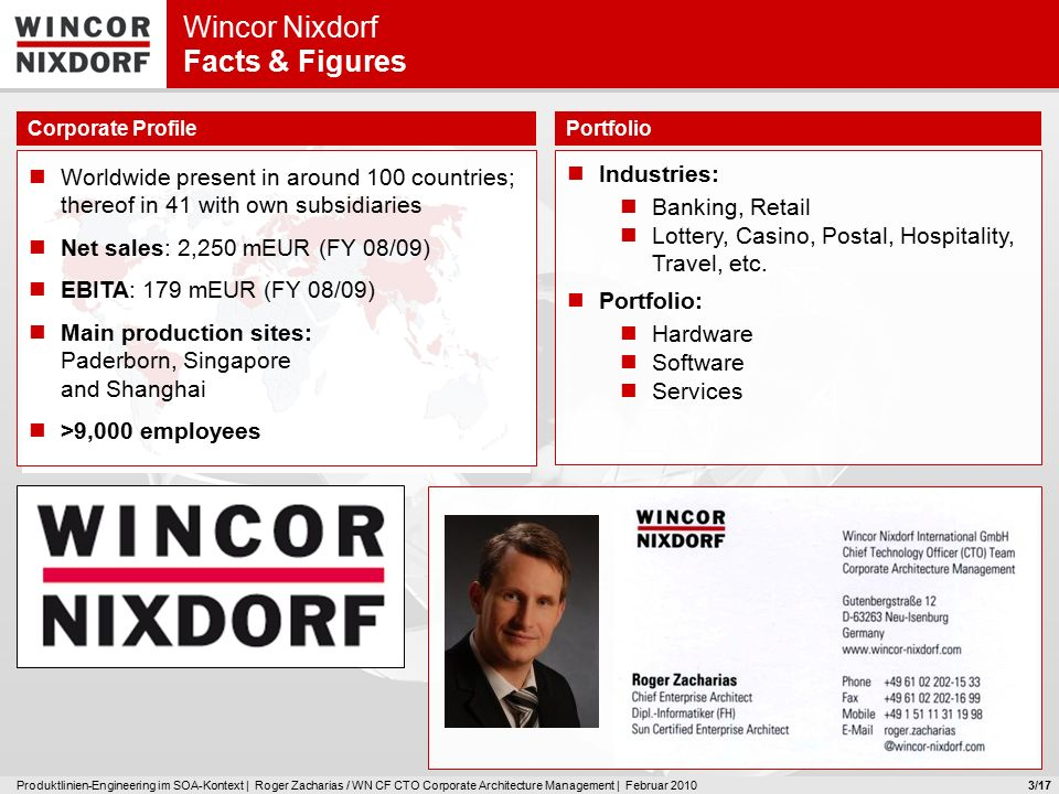 Produktlinien-Engineering im SOA-Kontext | Roger Zacharias / WN CF CTO Corporate Architecture Management | Februar 20103 Wincor Nixdorf Facts & Figures Worldwide present in around 100 countries; thereof in 41 with own subsidiaries Net sales: 2,250 mEUR (FY 08/09) EBITA: 179 mEUR (FY 08/09) Main production sites: Paderborn, Singapore and Shanghai >9,000 employees Industries: Banking, Retail Lottery, Casino, Postal, Hospitality, Travel, etc.