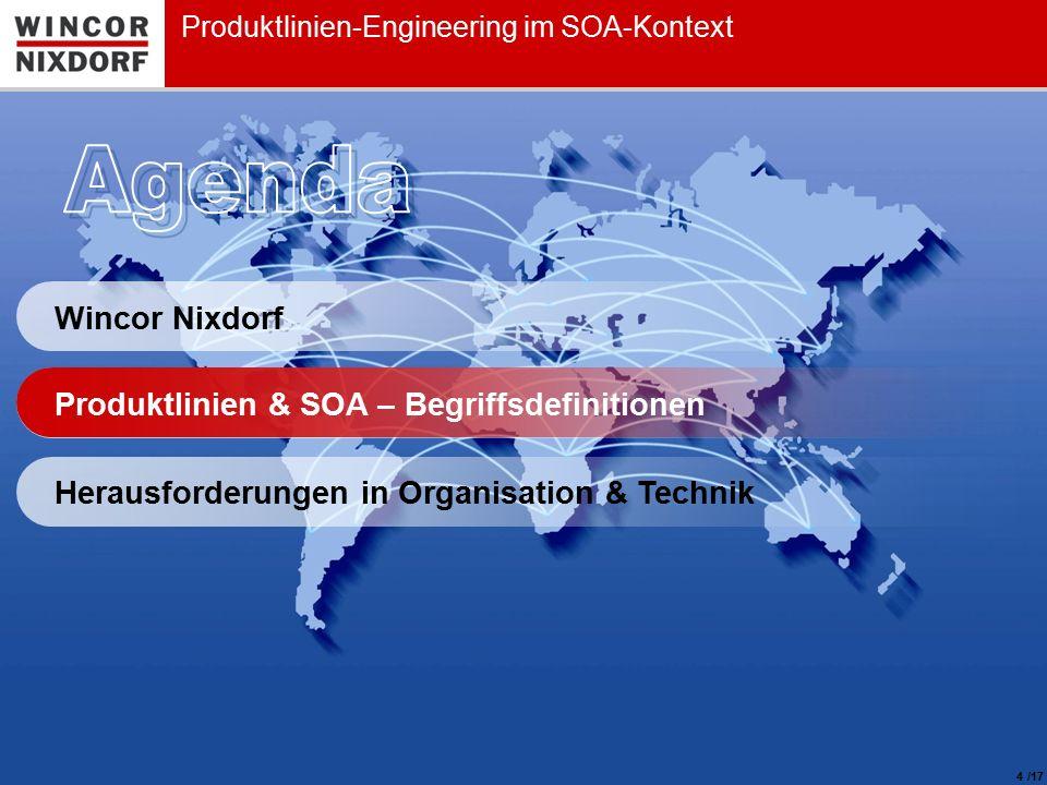 Wincor Nixdorf 4 Produktlinien-Engineering im SOA-Kontext Produktlinien & SOA – Begriffsdefinitionen Herausforderungen in Organisation & Technik /17