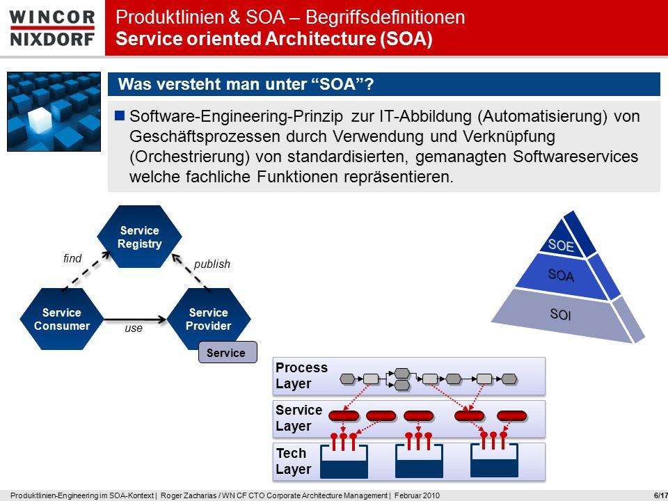 Wincor Nixdorf 7 Produktlinien-Engineering im SOA-Kontext Produktlinien & SOA – Begriffsdefinitionen Herausforderungen in Organisation & Technik /17