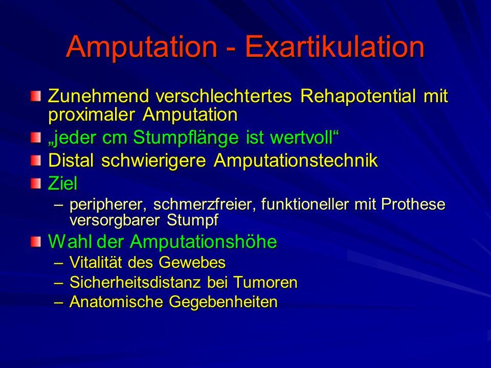 """Amputation - Exartikulation Zunehmend verschlechtertes Rehapotential mit proximaler Amputation """"jeder cm Stumpflänge ist wertvoll Distal schwierigere Amputationstechnik Ziel –peripherer, schmerzfreier, funktioneller mit Prothese versorgbarer Stumpf Wahl der Amputationshöhe –Vitalität des Gewebes –Sicherheitsdistanz bei Tumoren –Anatomische Gegebenheiten"""