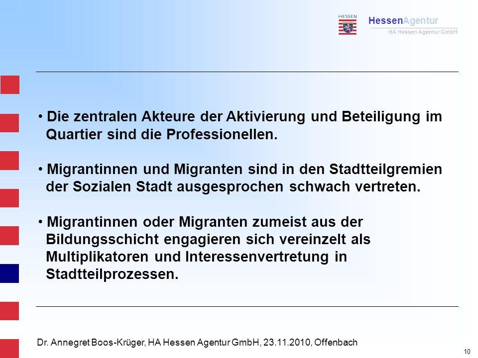 HessenAgentur HA Hessen Agentur GmbH Dr. Annegret Boos-Krüger, HA Hessen Agentur GmbH, 23.11.2010, Offenbach Die zentralen Akteure der Aktivierung und