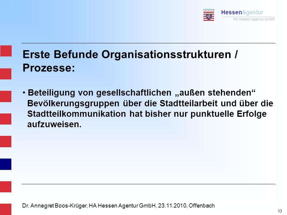 HessenAgentur HA Hessen Agentur GmbH Dr. Annegret Boos-Krüger, HA Hessen Agentur GmbH, 23.11.2010, Offenbach Erste Befunde Organisationsstrukturen / P