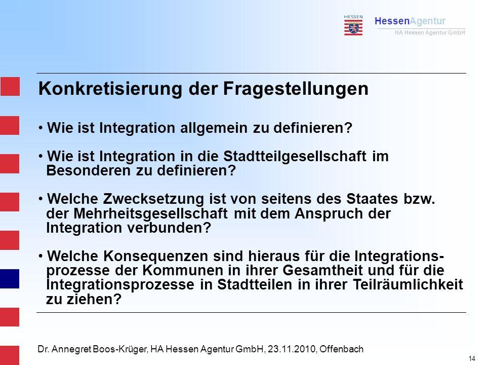 HessenAgentur HA Hessen Agentur GmbH Dr. Annegret Boos-Krüger, HA Hessen Agentur GmbH, 23.11.2010, Offenbach Konkretisierung der Fragestellungen Wie i
