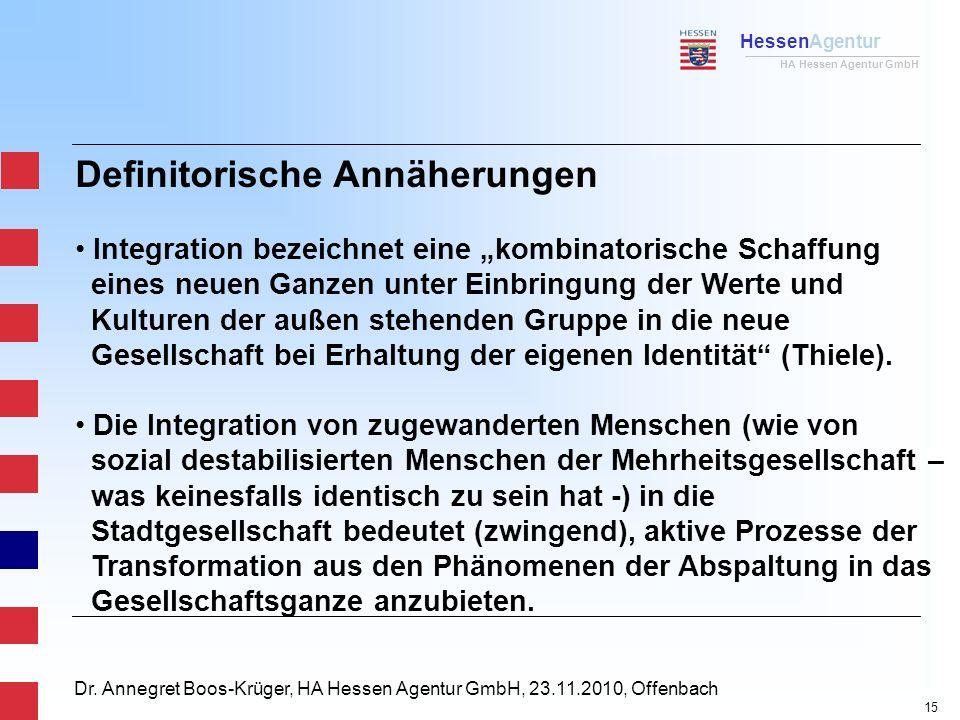 HessenAgentur HA Hessen Agentur GmbH Dr. Annegret Boos-Krüger, HA Hessen Agentur GmbH, 23.11.2010, Offenbach Definitorische Annäherungen Integration b