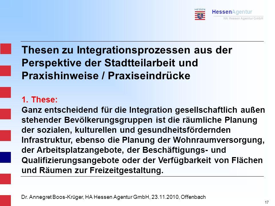 HessenAgentur HA Hessen Agentur GmbH Dr. Annegret Boos-Krüger, HA Hessen Agentur GmbH, 23.11.2010, Offenbach Thesen zu Integrationsprozessen aus der P