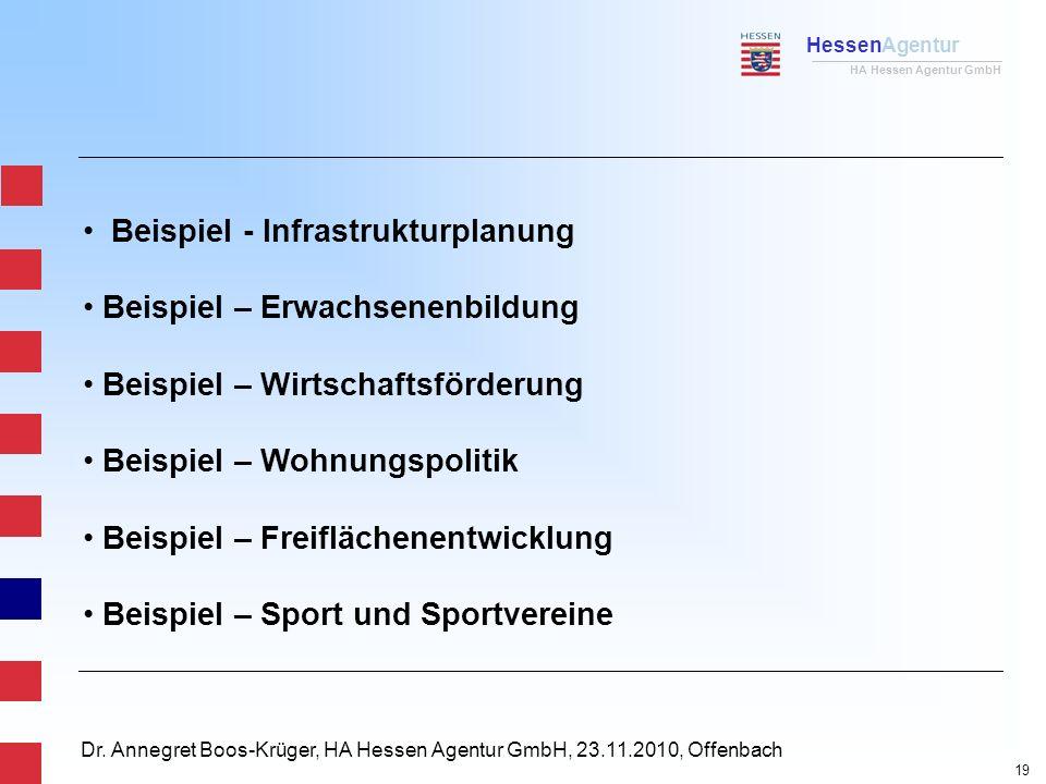 HessenAgentur HA Hessen Agentur GmbH Dr. Annegret Boos-Krüger, HA Hessen Agentur GmbH, 23.11.2010, Offenbach Beispiel - Infrastrukturplanung Beispiel