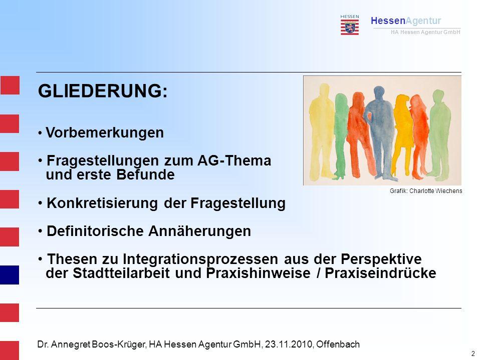HessenAgentur HA Hessen Agentur GmbH Dr. Annegret Boos-Krüger, HA Hessen Agentur GmbH, 23.11.2010, Offenbach GLIEDERUNG: Vorbemerkungen Fragestellunge