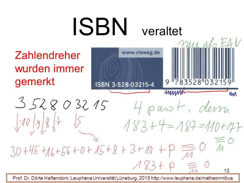12 ISBN veraltet Prof. Dr.