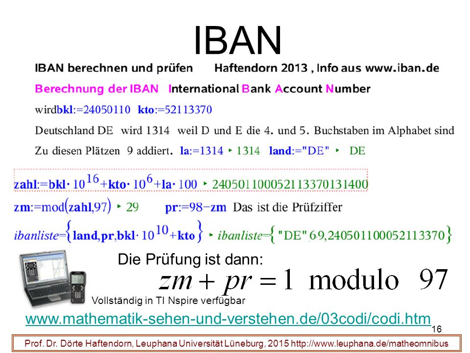 16 IBAN Prof.Dr.
