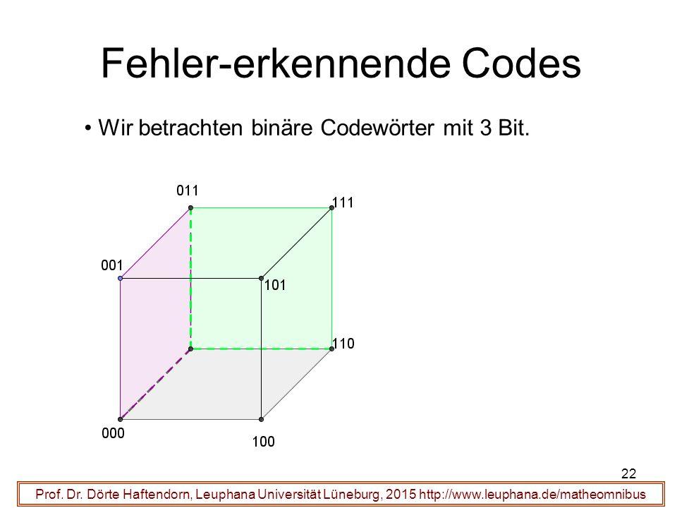 22 Fehler-erkennende Codes Prof. Dr.