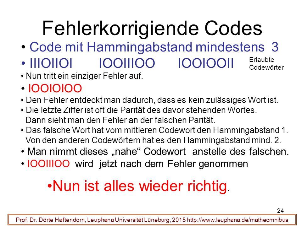24 Fehlerkorrigiende Codes Prof. Dr.