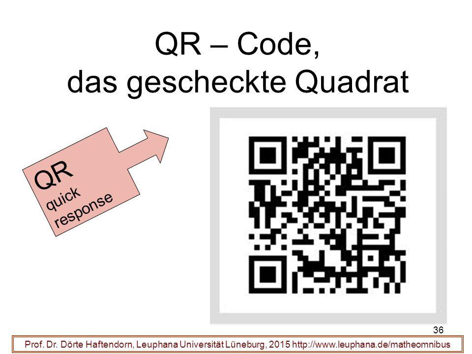 36 QR – Code, das gescheckte Quadrat Prof. Dr.