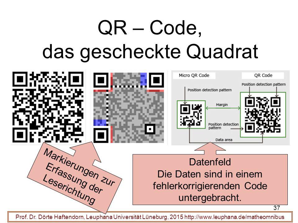 37 QR – Code, das gescheckte Quadrat Prof. Dr.