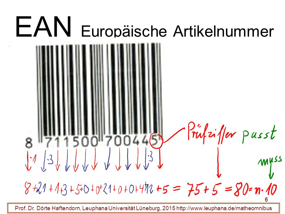 6 EAN Europäische Artikelnummer Prof. Dr.