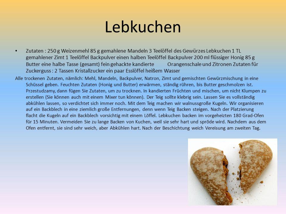 Lebkuchen Zutaten : 250 g Weizenmehl 85 g gemahlene Mandeln 3 Teelöffel des Gewürzes Lebkuchen 1 TL gemahlener Zimt 1 Teelöffel Backpulver einen halben Teelöffel Backpulver 200 ml flüssiger Honig 85 g Butter eine halbe Tasse (gesamt) fein gehackte kandierte Orangenschale und Zitronen Zutaten für Zuckerguss : 2 Tassen Kristallzucker ein paar Esslöffel heißem Wasser Alle trockenen Zutaten, nämlich: Mehl, Mandeln, Backpulver, Natron, Zimt und gemischten Gewürzmischung in eine Schüssel geben.