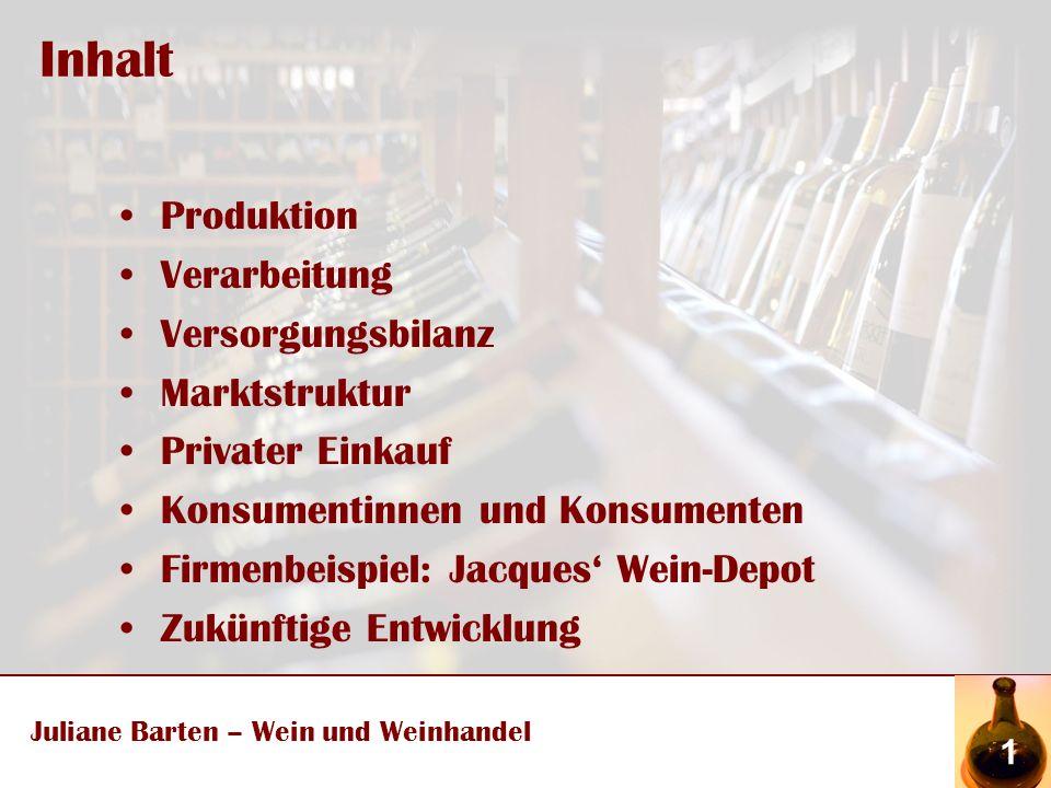 Zukünftige Entwicklung Juliane Barten – Wein und Weinhandel 13 Prognose des weltweiten Verbrauchs in % bis 2008 (Kolesch; 2007:8)