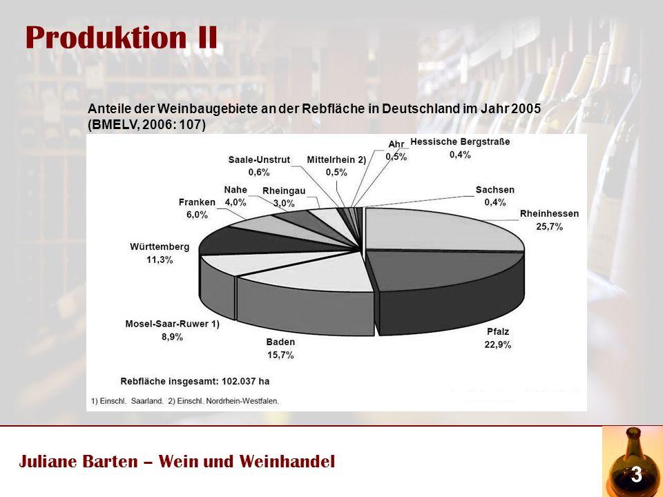Produktion II Juliane Barten – Wein und Weinhandel 3 Anteile der Weinbaugebiete an der Rebfläche in Deutschland im Jahr 2005 (BMELV, 2006: 107)