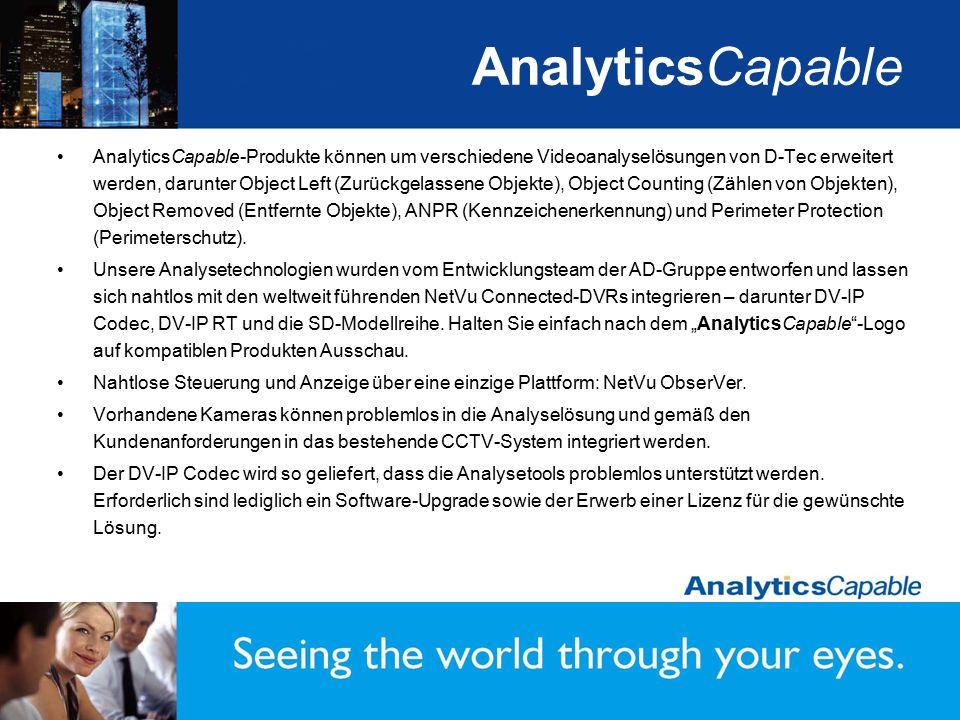 AnalyticsCapable AnalyticsCapable-Produkte können um verschiedene Videoanalyselösungen von D-Tec erweitert werden, darunter Object Left (Zurückgelasse