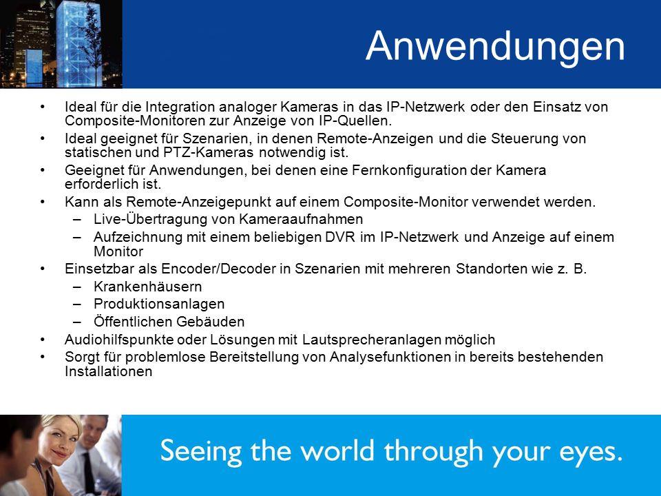 Anwendungen Ideal für die Integration analoger Kameras in das IP-Netzwerk oder den Einsatz von Composite-Monitoren zur Anzeige von IP-Quellen. Ideal g