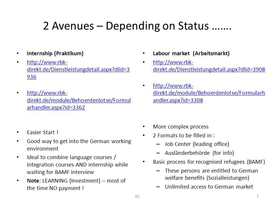 2 Avenues – Depending on Status ……. RC7 Internship (Praktikum) http://www.rbk- direkt.de/Dienstleistungdetail.aspx?dlid=3 936 http://www.rbk- direkt.d