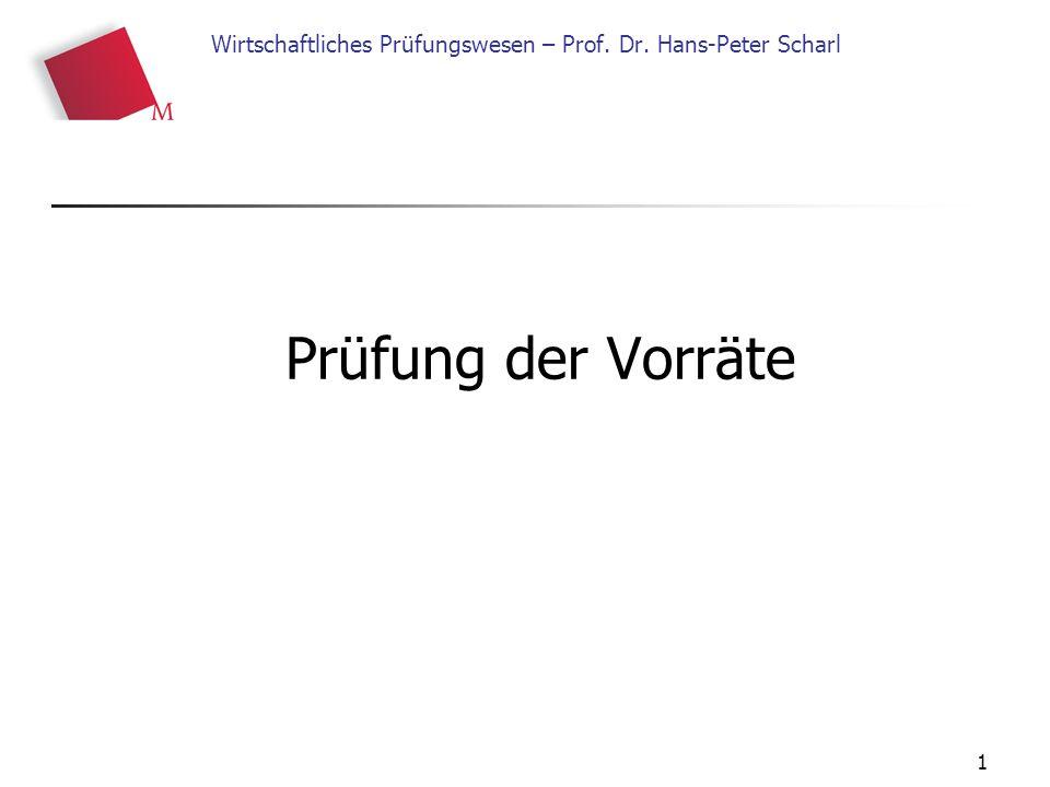 1 Wirtschaftliches Prüfungswesen – Prof. Dr. Hans-Peter Scharl Prüfung der Vorräte